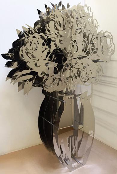 """Vase of Roses - Chrome  60 x 40"""""""
