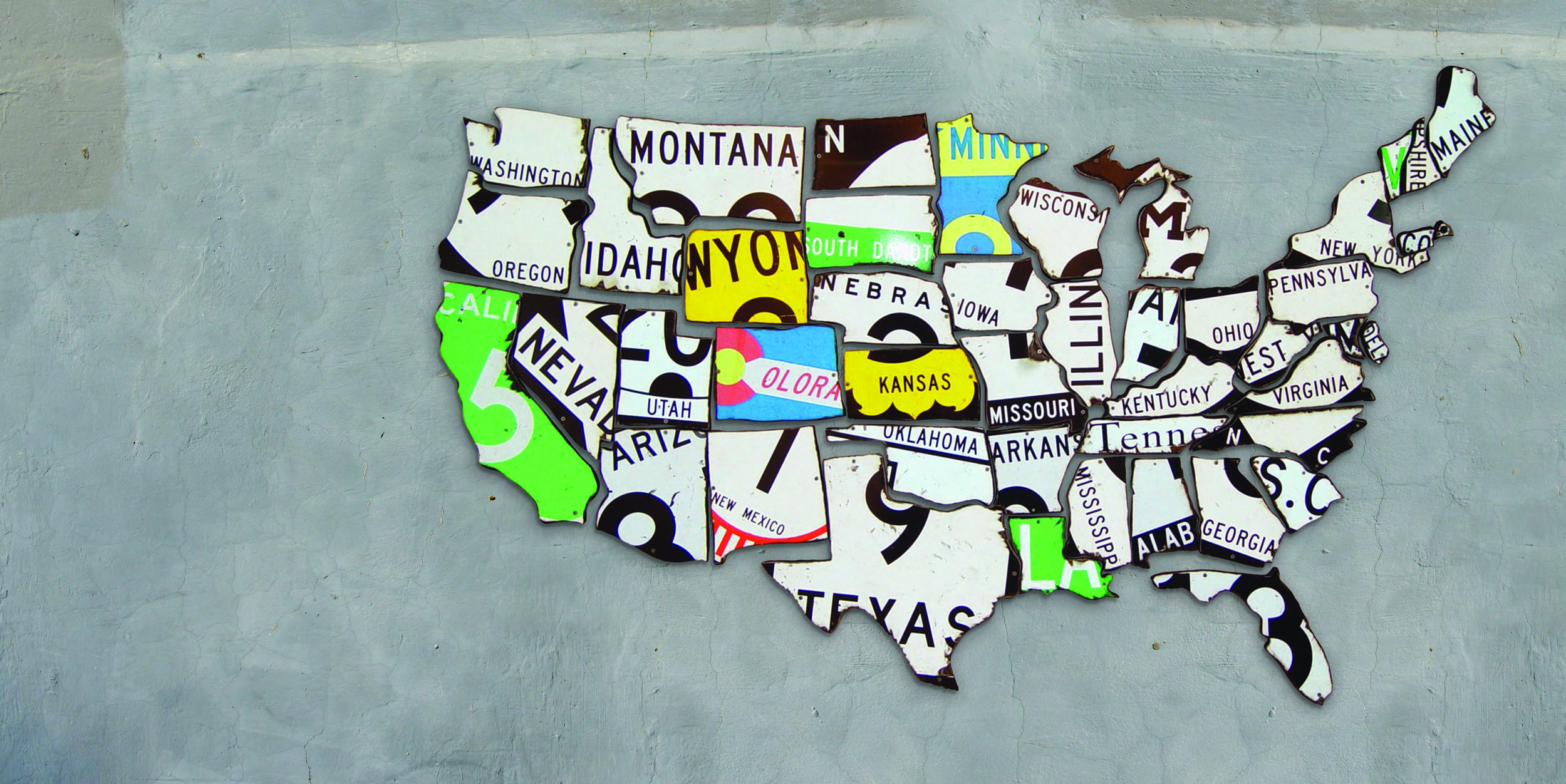 "US MAP   Reclaimed Road Signs  75"" x 40"""