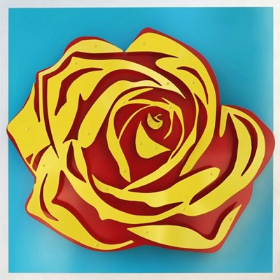 Rose - Yellow on Blue  32 x 32""
