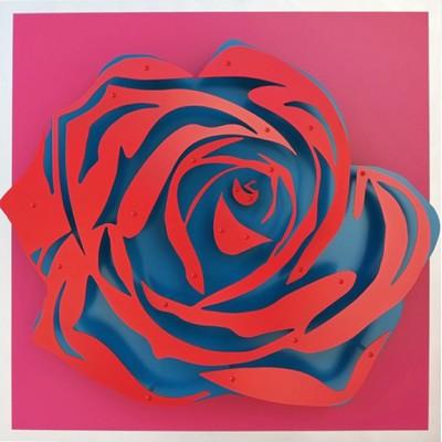"Rose - Red on Magenta  32 x 32"""