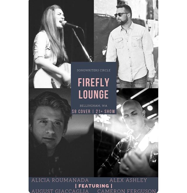 Have you heard?! This Saturday at @thefireflybham I'll be on stage alongside the amazing and talented likes of Alicia Roumanada, Alex Ashley and August Giaccaglia for a night showcasing the art of songwriting! Show starts at 7pm, tickets are $8 at the door and I believe it's a 21+ show. Trust me, it will be worth the drive to hear these talented folks. Are you coming? Let me know below! 👇🏼👇🏼👇🏼