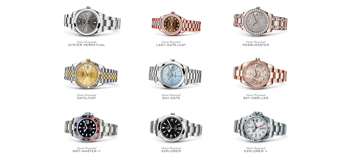 Rolex's website uses exclusively digital images for a seamless and enjoyable shopping experience.