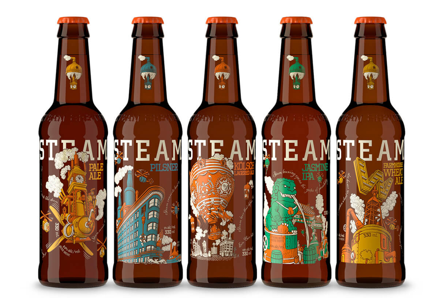 SteamWorks range of bottles and clever use of secondary colors - Art Direction Laurie Millotte