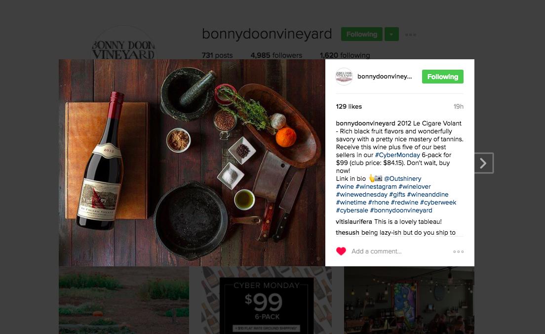 Bonny Doon Instagram post