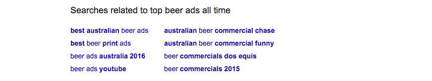 The related search results indicated that Australia was in the lead for beer commericals!
