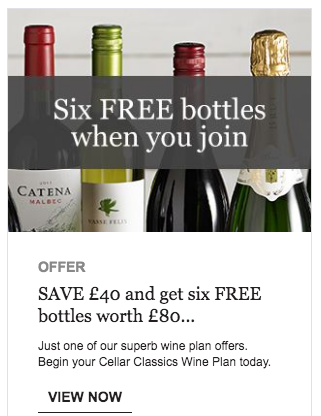 Banner ad on wine.telegraph.co.uk