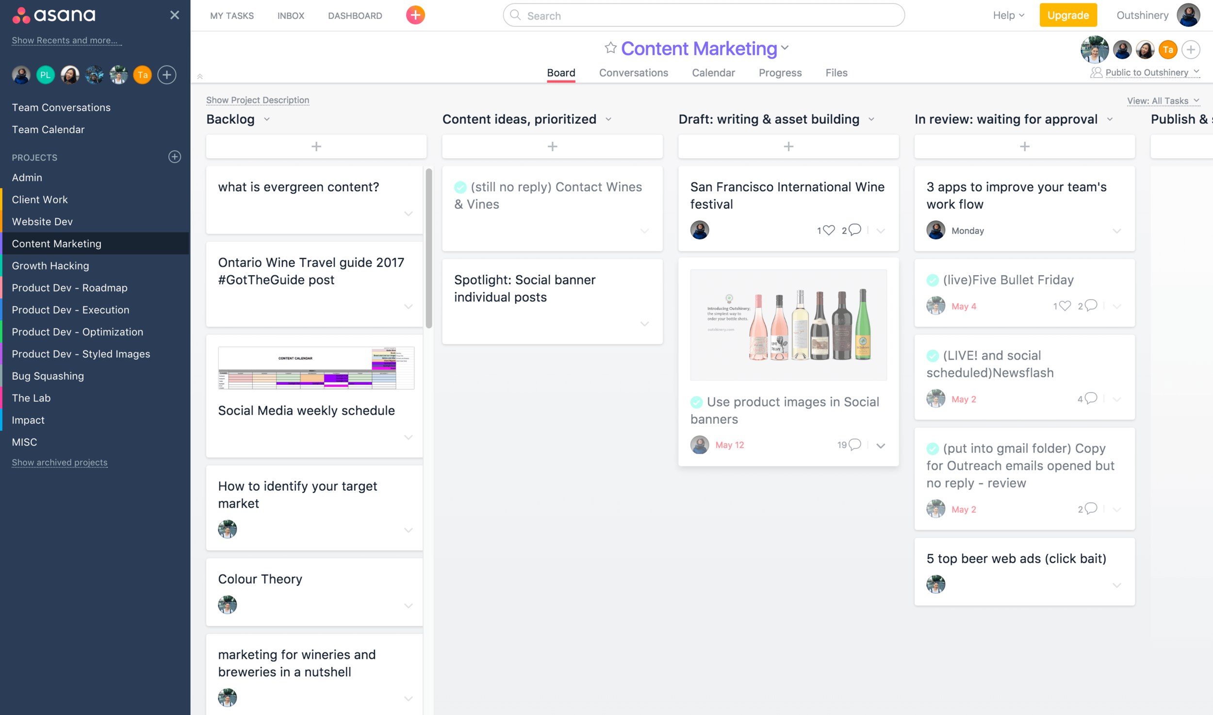 Screenshot of our Content Marketing board in Asana: we use different column for each status, moving our tasks like sticky notes from left to right, making us aware of our progress.
