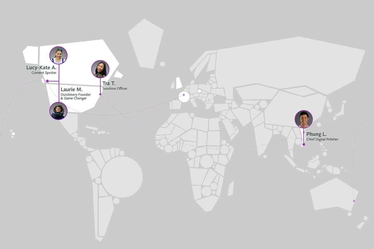 The Outshinery team, deployed worldwide.