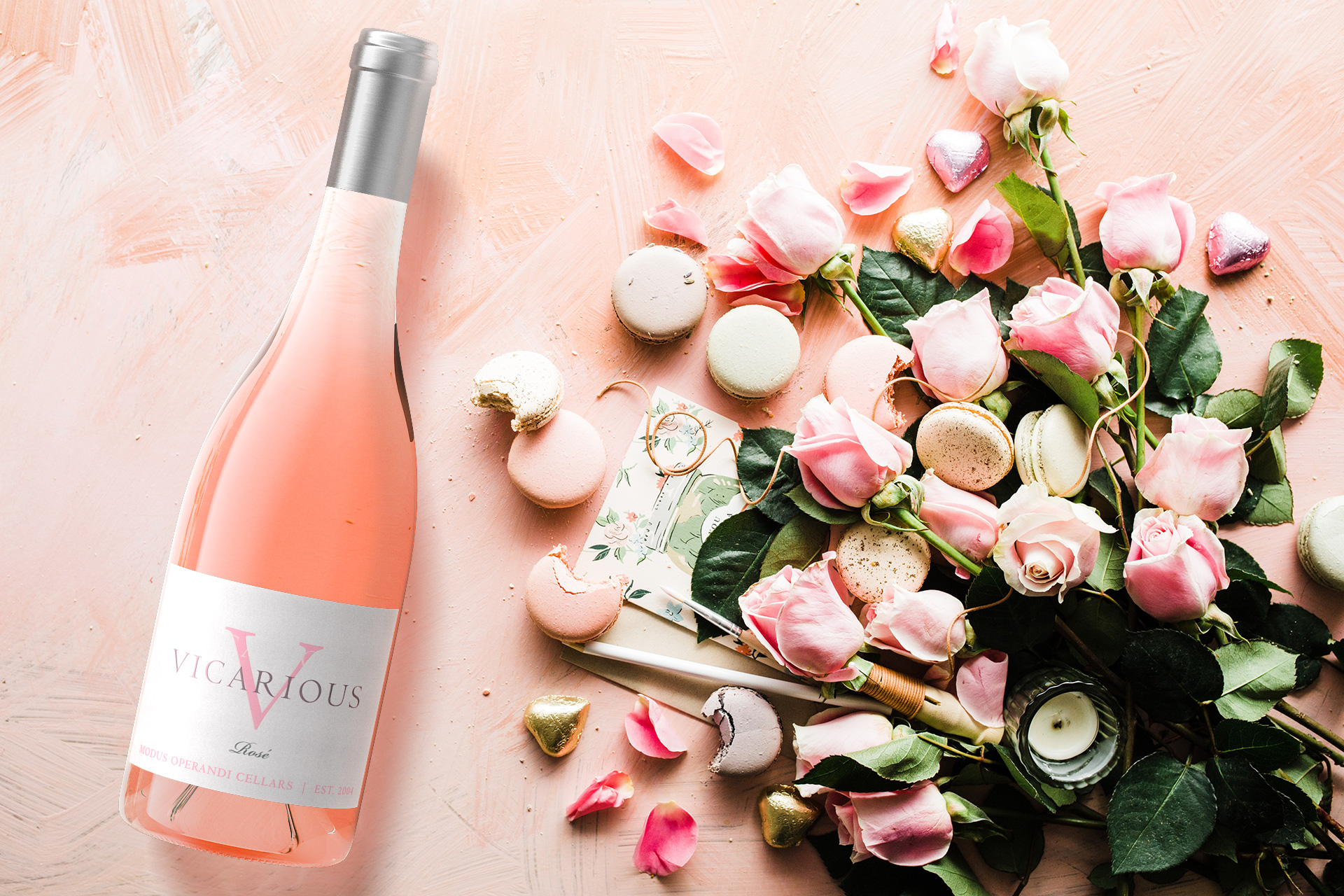 Macarons and roses Lifestyle Image for Modus Operandi Vineyards