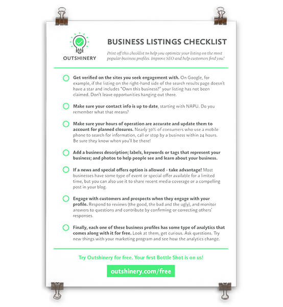 - Get your free checklist to optimize your business listing on the most popular platforms.Improve SEO and help customers find you!