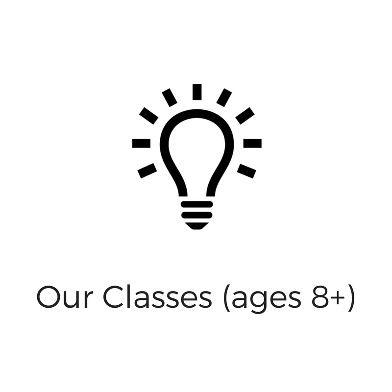We offer youth classes (ages 8-15), and adult classes (ages 16+) for free. Click here to RSVP for our open classes.