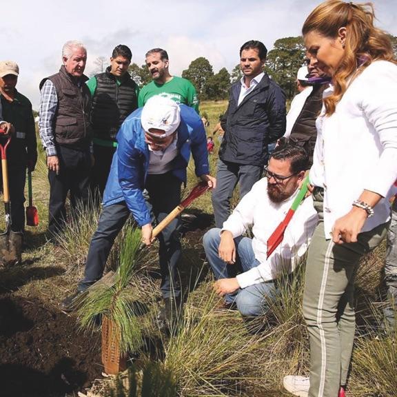 Jorge Rescala   (Director CONAFOR),  Rafael Pacchiano   (Minister of Environment) and   Esteban Moctezuma   (Azteca Foundation),   Ernesto Herrera   (IUCN México) came along to plant some trees