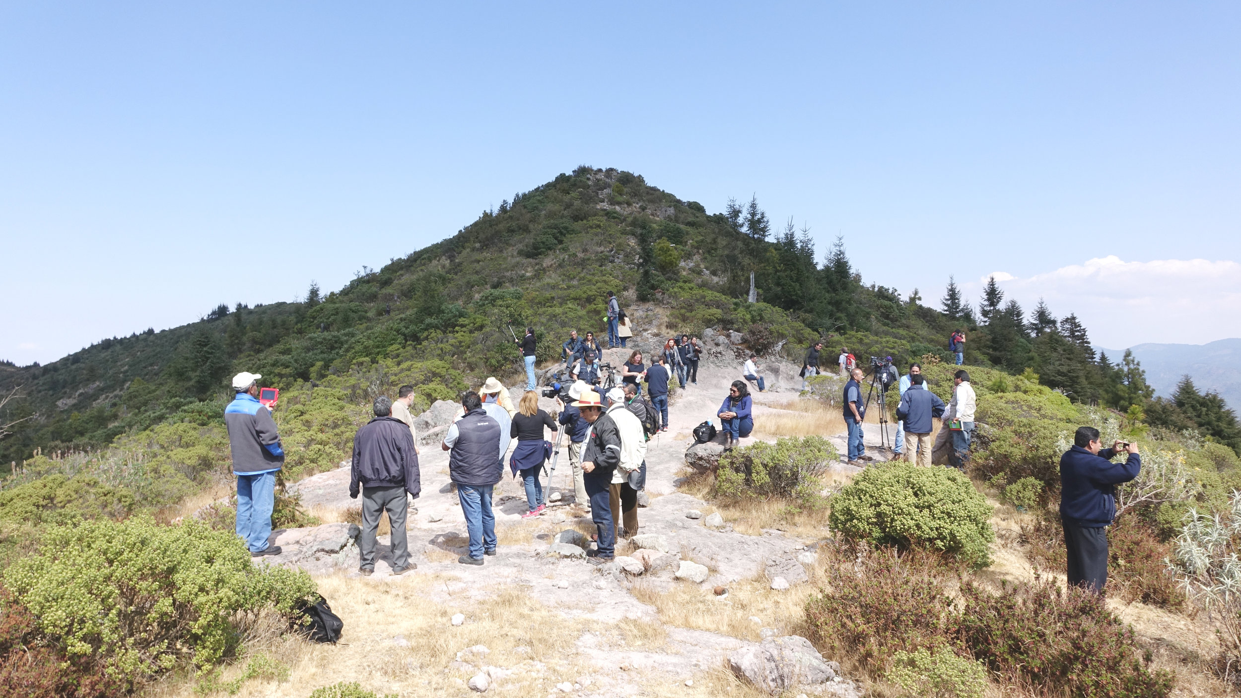 Journalists joined project leaders atop the Cero Pelon where the degradation is clearly visible