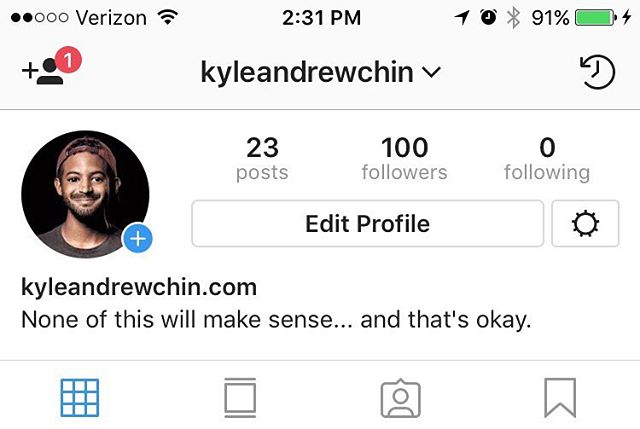 HUGE milestone for this page. 100 FOLLOWERS! 💯💯💯I'd like to thank Instagram for making the process of having a second account relatively easy, my mom for being my mom, Verizon for providing decent cellular service, the people who don't report my page for not reporting my page, and mostly, all 100 of you for following me especially without a single complaint about me not following you back. #ThankYou #LoveEveryone #BeKind #EatPrayLove #FollowerToFollowingRatioAllTimeHigh #kacdc