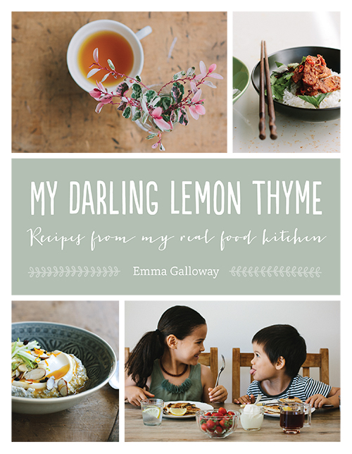 My Darling Lemon Thyme,Emma Galloway  Published by HarperCollins Publishers (New Zealand) ISBN:978-1-775-54021-2   Designed by Anna Egan-Reid   Enjoy wholesome, nourishing food without skimping on taste! Emma Galloway learned to love fresh, healthy food growing up in a family of creative cooks. She has carried that love over into her roles as a chef, mother and highly successful food writer. these recipes reflect Emma's philosophy that natural, whole food should also be flavoursome, fun and easy to prepare. this is food as it's supposed to be eaten - fresh from the earth to the kitchen, seasonal, nourishing and delicious. Perfect for anyone with food intolerances,  My Darling Lemon thyme  is also sure to please everyone who loves great food that is also great for you.