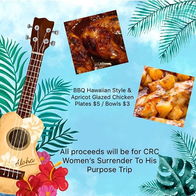 Come support CRC Women this Sunday, as we fundraise for our Annual STHP trip to The Fountain, Ventura. Plates include: choice of chicken over butter rice, salad & a roll. Bowls include: choice of chicken over butter rice & a roll.