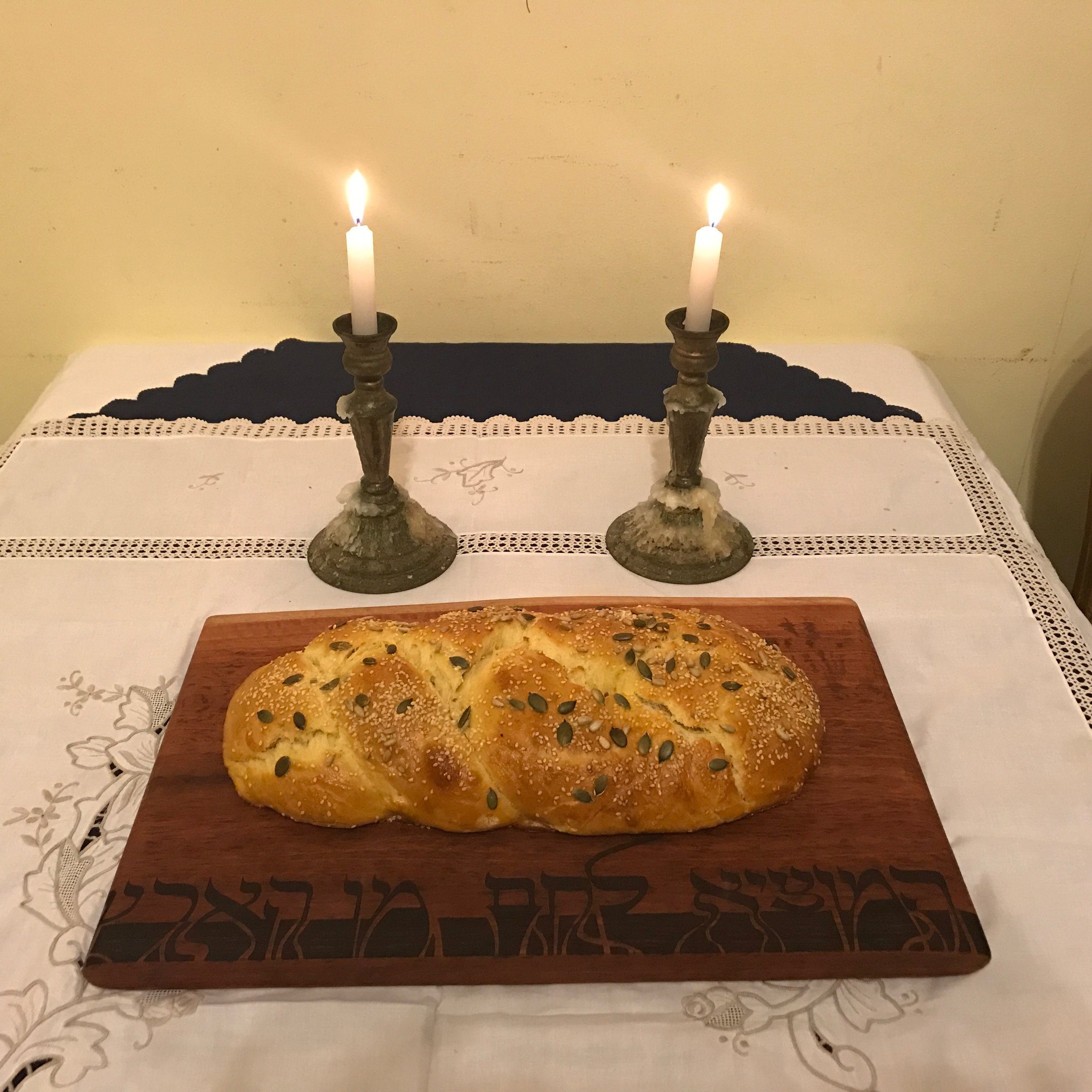 Shabbat Shalom Bread Board with home made challah
