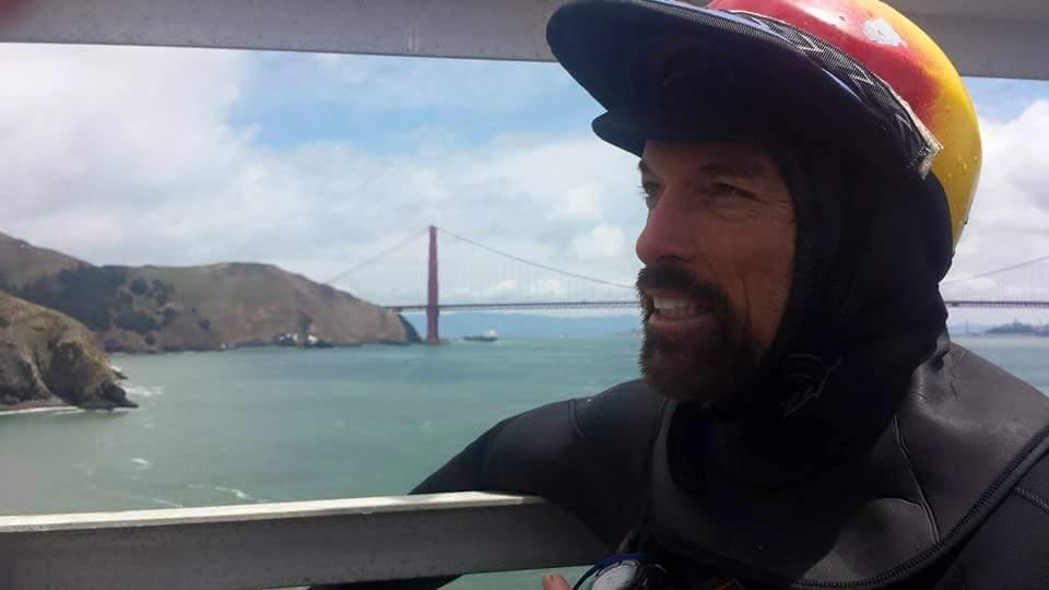 Kayaking under the Golden Gate Bridge outside San Francisco Bay.