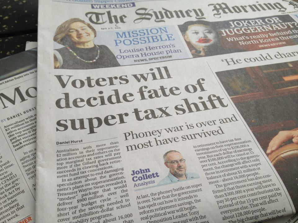 An article that appeared on the front of the Sydney Morning Herald on 6 April 2013 and was also  published by other Fairfax titles