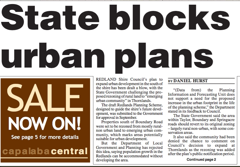 An article about a housing development dispute in the Bayside Bulletin, 27 December 2005.