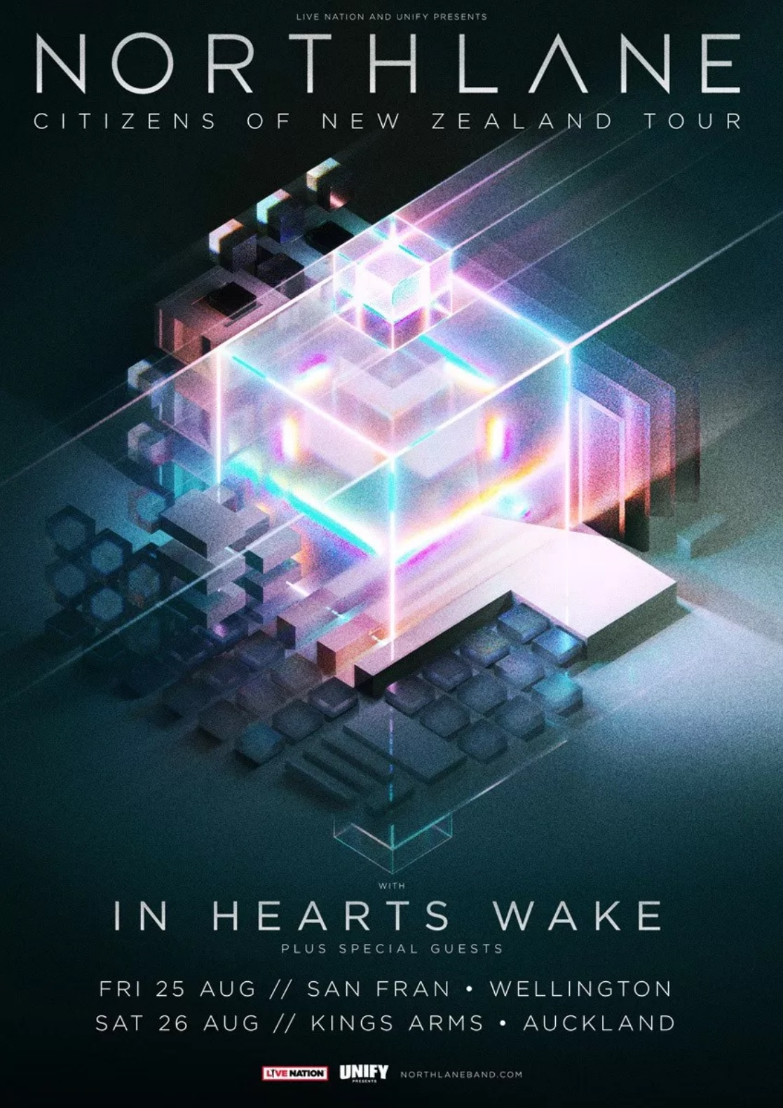 NORTHLANE - KINGS ARMS - Just weeks after the surprise release of their masterful fourth studio albumMesmer, Australian metalcore luminaries NORTHLANEannounce their return to New Zealand this August for two dates with their label cohorts IN HEARTS WAKE.
