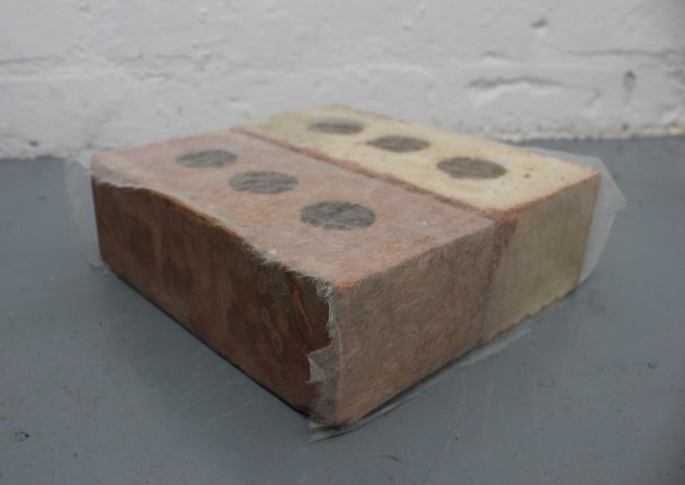 Holly Rowan Hesson, Holding pattern , 2015, found bricks, Japanese conservation grade paper, 30 x 30 x 10cm