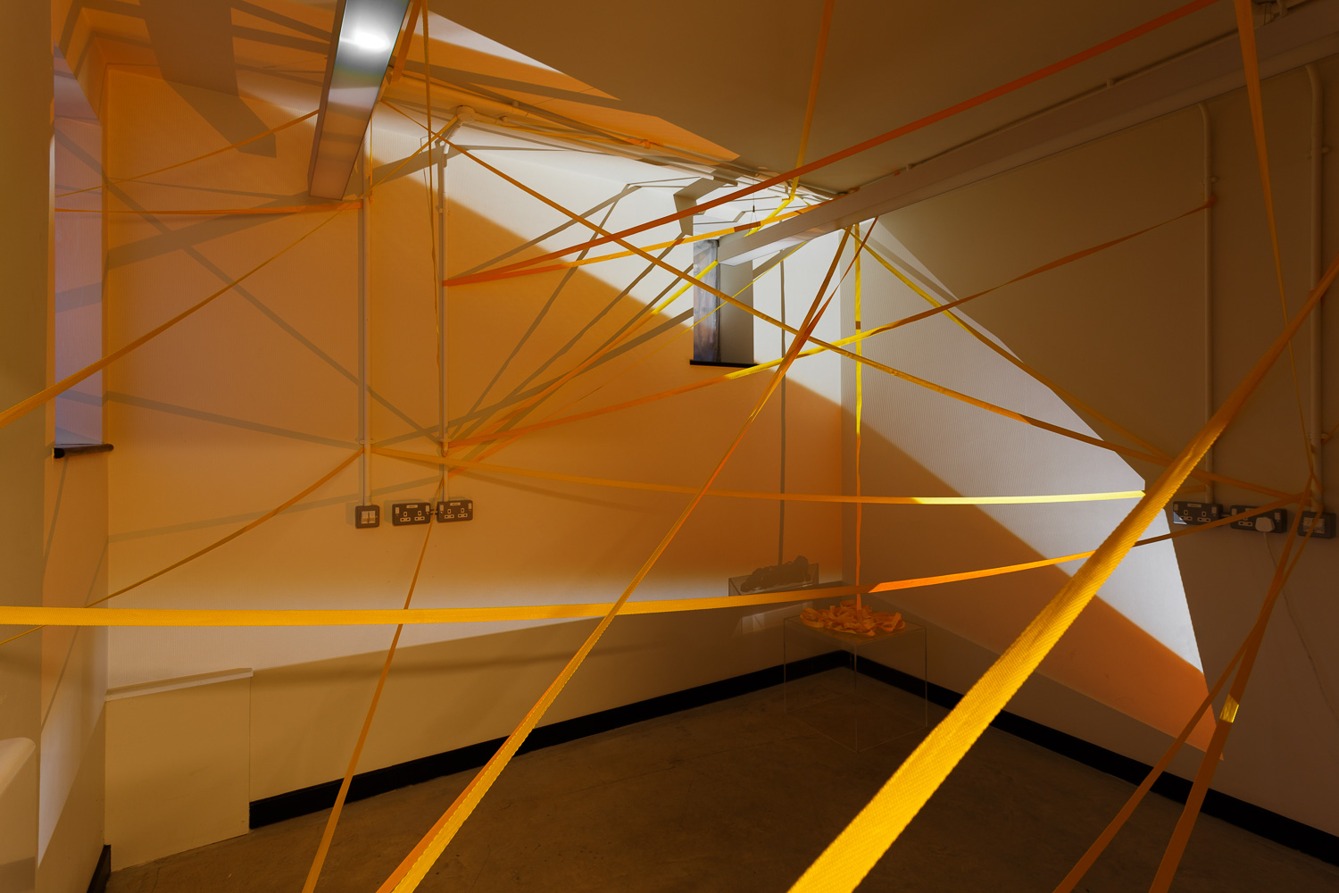 Holly Rowan Hesson,  Bend or break , 2018, webbing, found Perspex box, projection (looped series of 15 photographs), dimensions variable