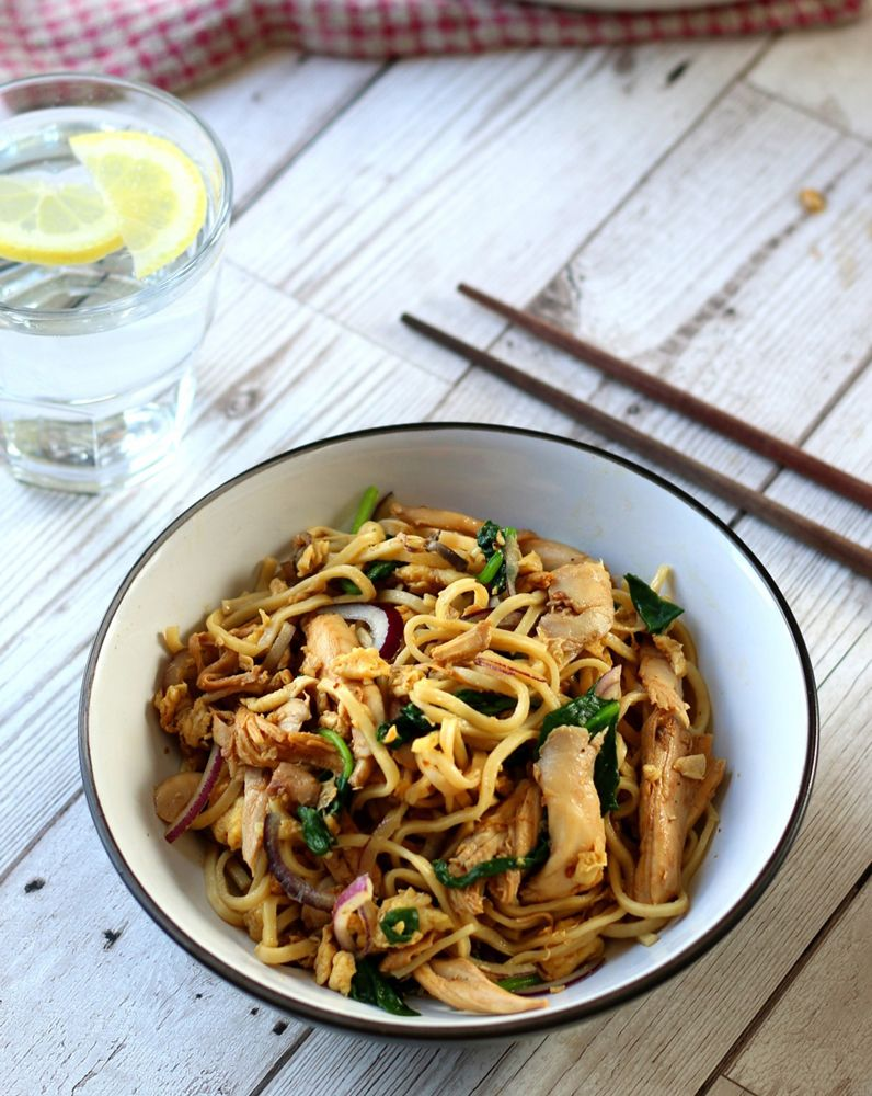 Chicken And Egg Noodles With Wilted Spinach