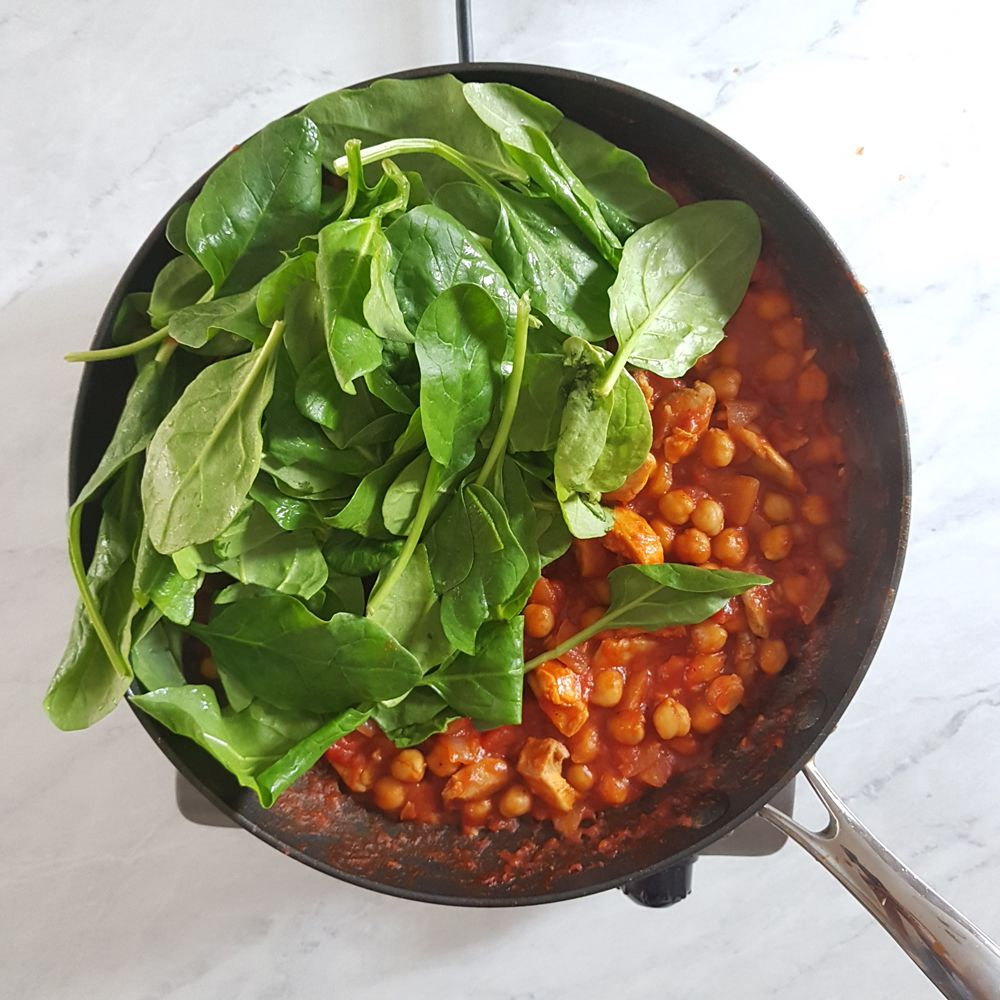 Add the spinach and stir together until wilted.