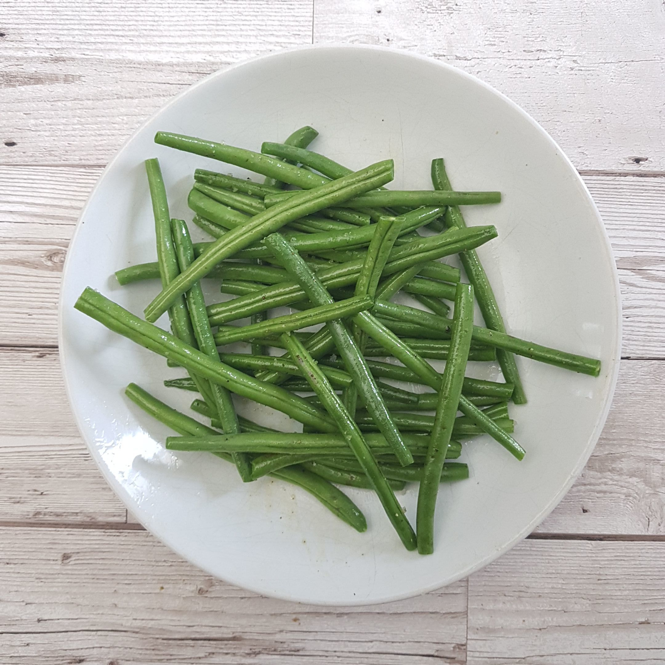 Meanwhile, toss the green beans in a tsp olive oil and a good pinch salt and pepper
