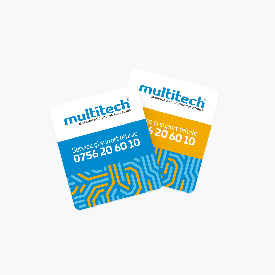 Bisigned - Multitech brand identity design - Sticker design