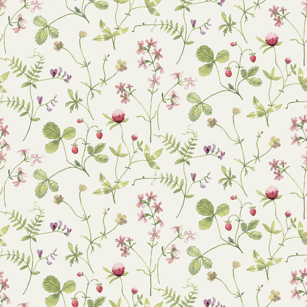 Tapetdesignen Julia som ängens vilda växter och blommor får bo i.