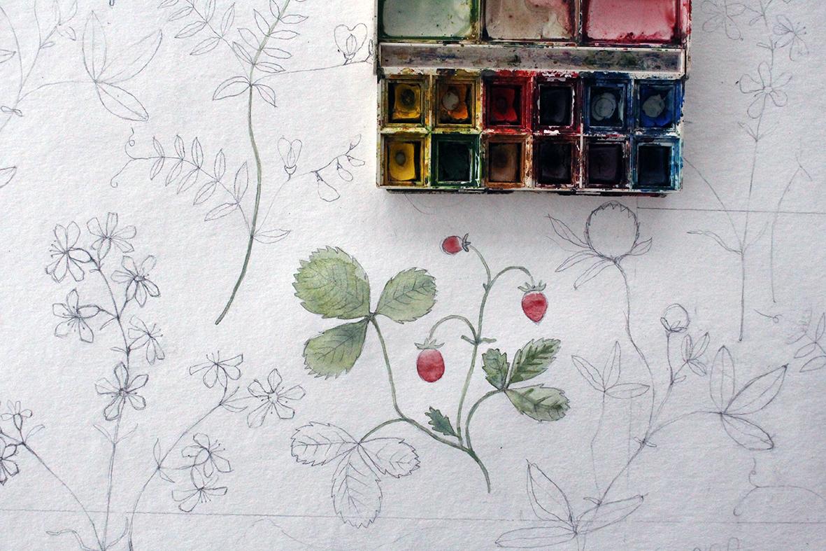 Tapetmönstret Julia växer fram i blyerts och akvarell.