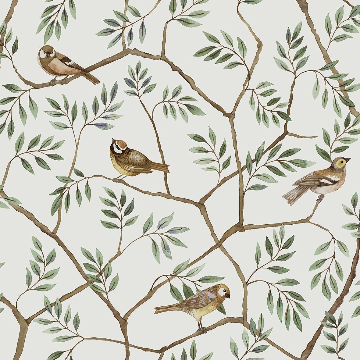 Tapetmönstret August med hitte-på-fåglarna.