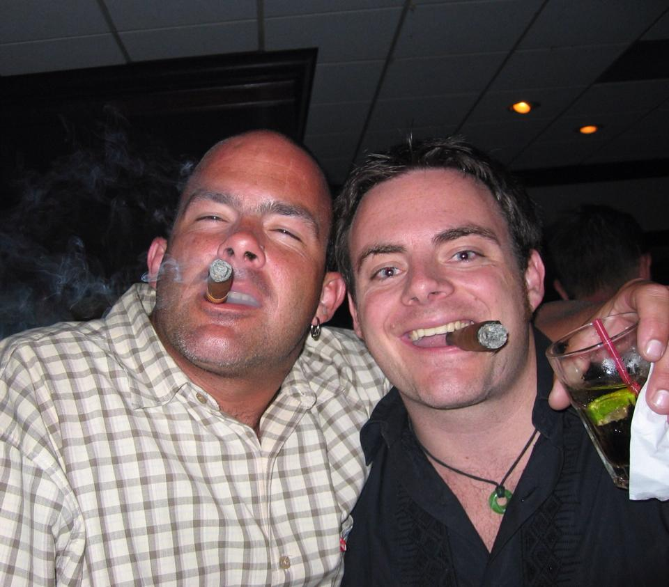 Kai and Lars sharing a drink and a cigar (2008