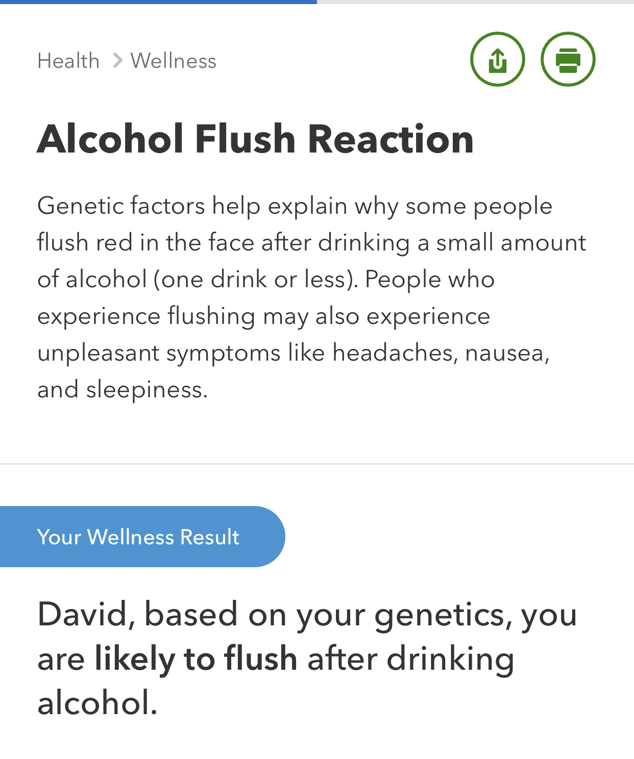Well 23 & Me got this right, I definitely turn red when I drink..but what else about my health?