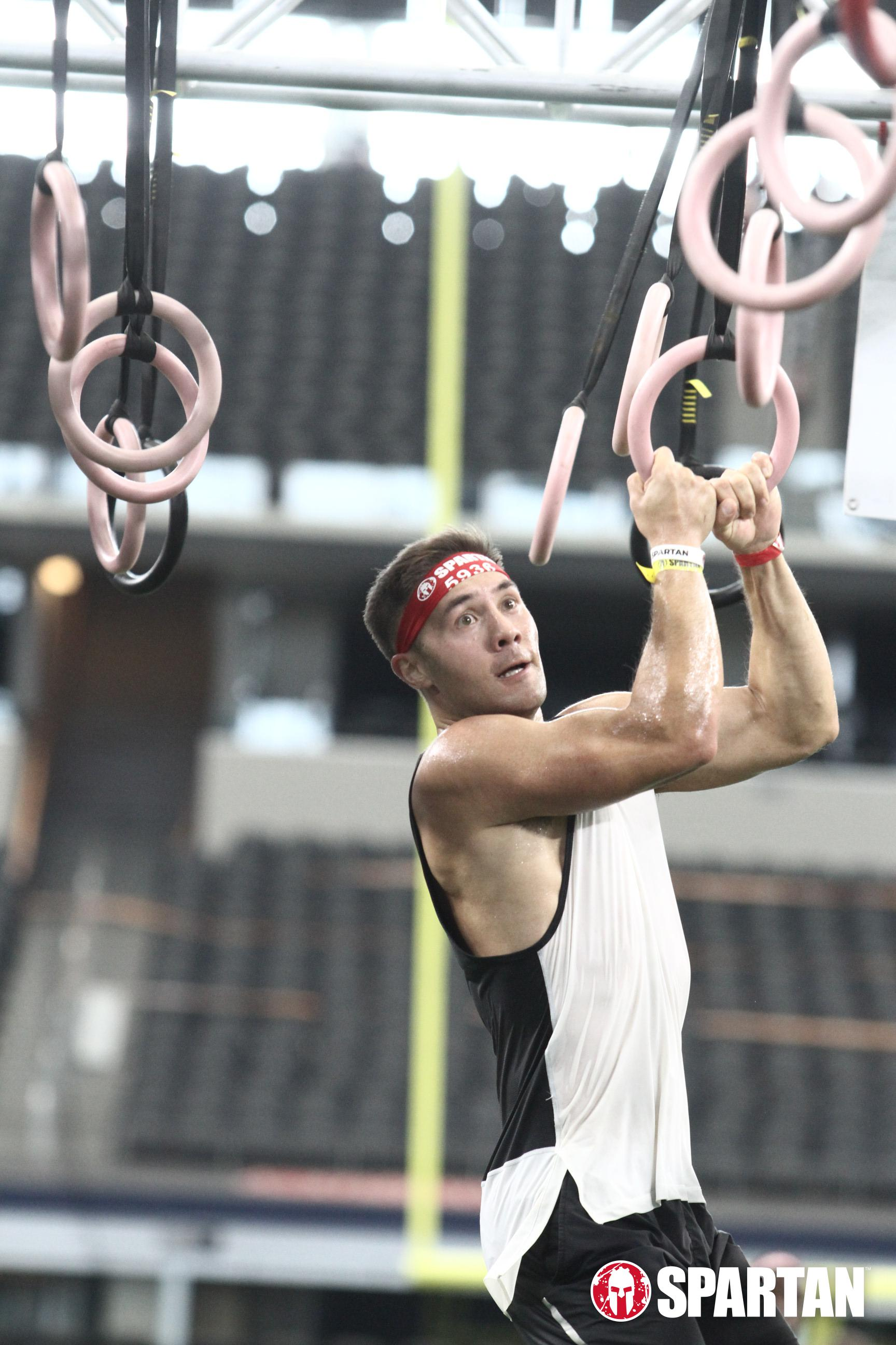 The Rings was the last obstacle standing between me and the finish line at the Dallas Spartan Race Stadium Sprint.