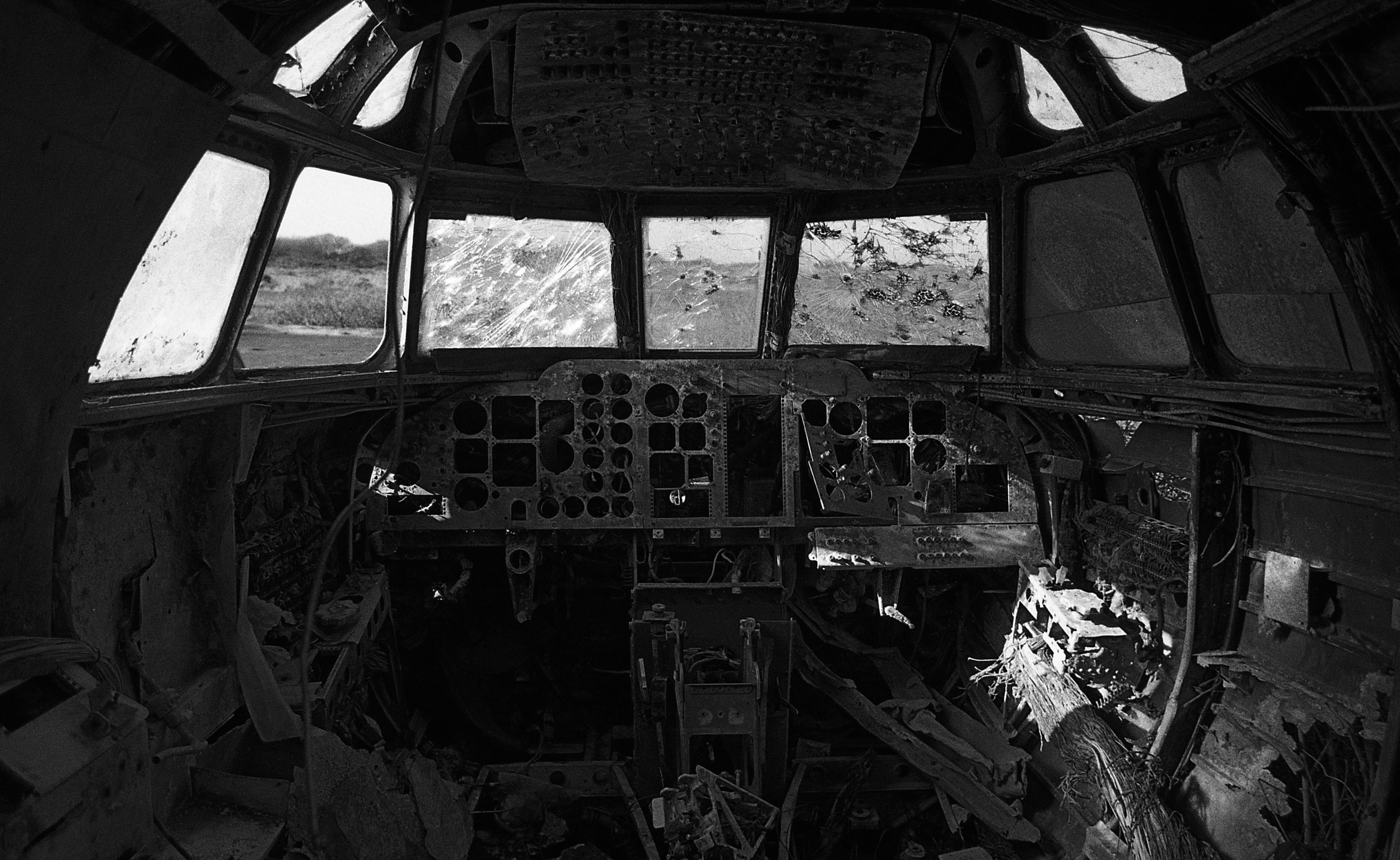 Interior of a retired Jetstream T2  Predannack Airfield is home to many retired aircrafts and has what is referred to as an aircraft graveyard. Retired airframes of varying levels of damage at Predannack are used for rescue and crash training by the Royal Navy.