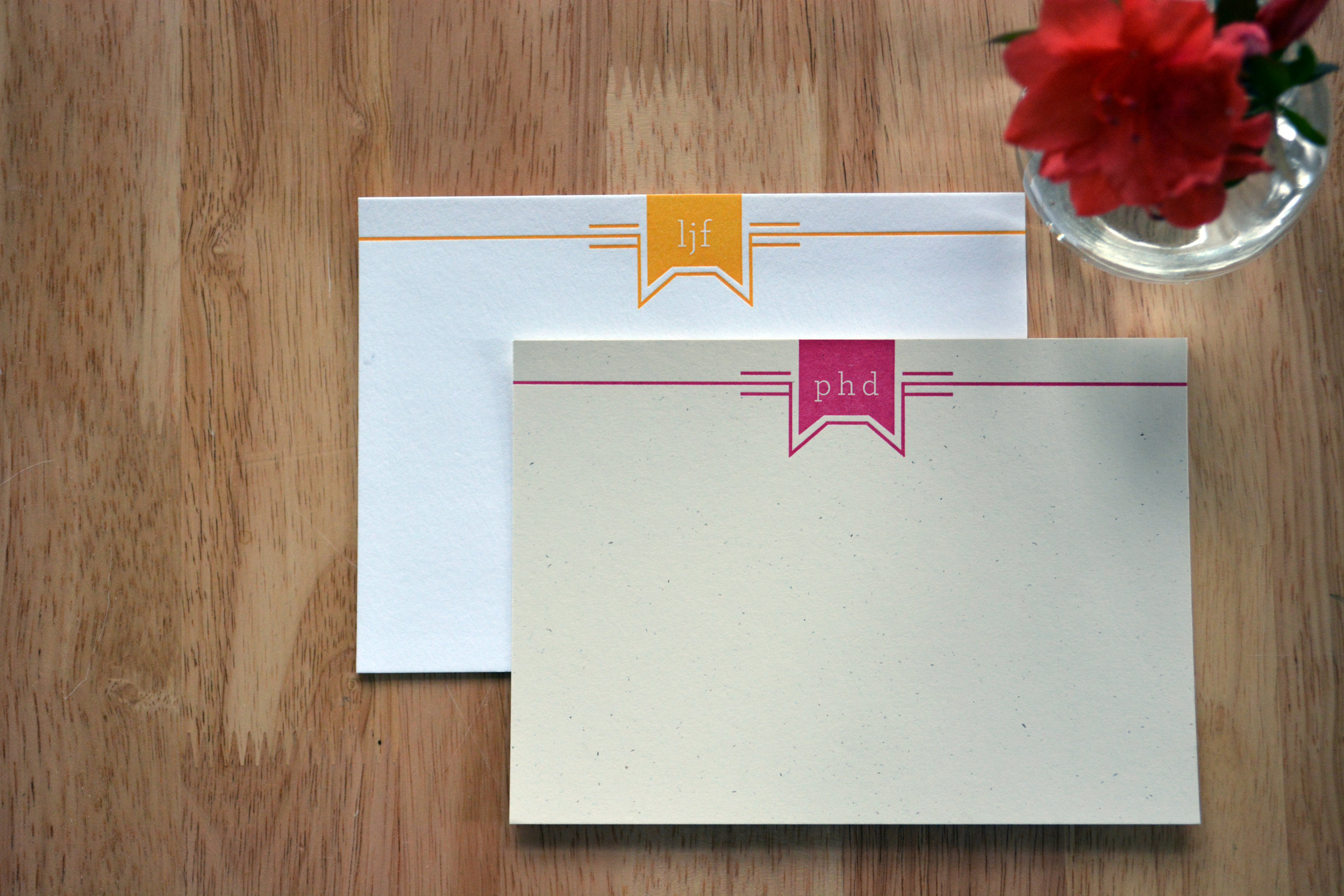 Cat Theme correspondence stationery, letterpress printed with custom colors and easily personalized initials; shown in marigold and fuschia on Crane's Lettra 110# Cover in Flourescent White and French Paper Co. 80# Text in Madero Beach