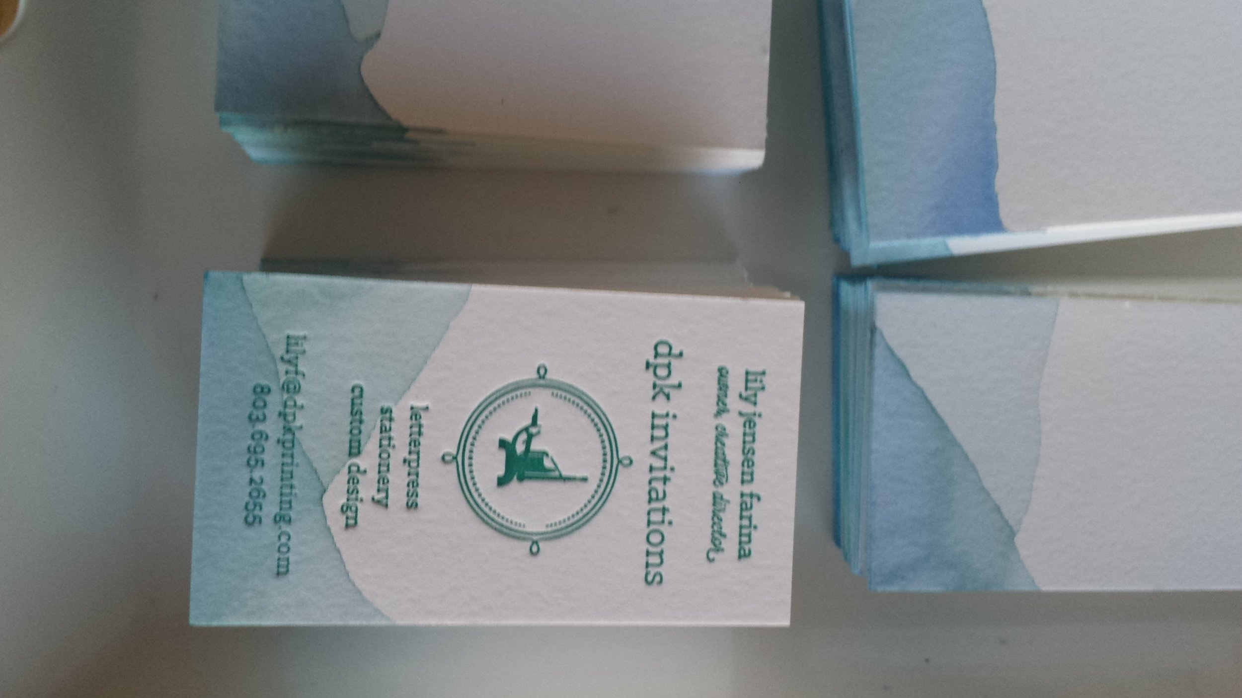 DPK Invitations, Hand-Dipped Business Card, letterpress printed on Crane's Lettra 220# DTC in Flourescent White