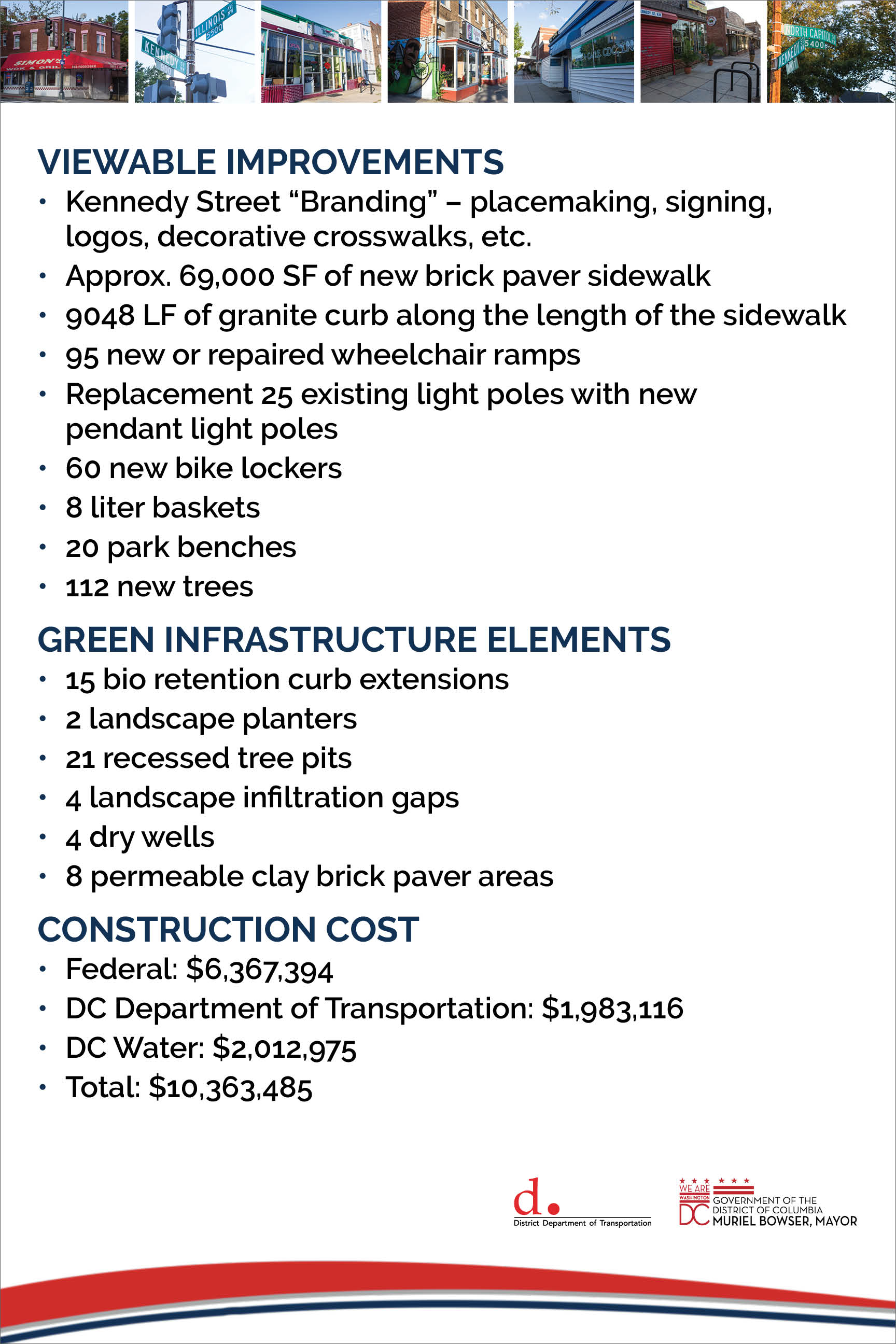 Viewable Improvements, Green Infrastructure Elements, Construction Cost