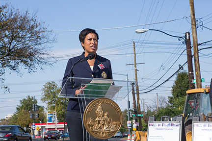Mayor Muriel Bowser speaking at the Kennedy Street Revitalization Kick Off