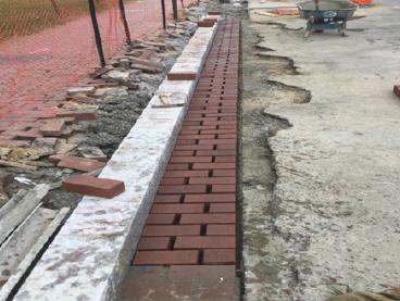Installation of brick gutter