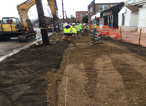 "Forming and Grading 4"" PCC Sidewalk Sub-Grade Sta.19+40LT to Sta.20+65LT"