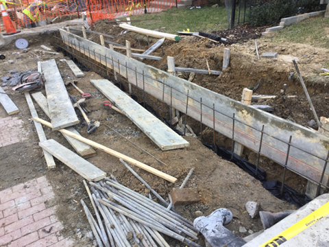 Excavation for coping wall and installation of rebar reinforcement. 36+85RT to 39+56RT