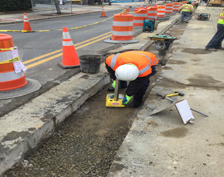 DDOT Inspector Performing Trench Backfill Compaction Test