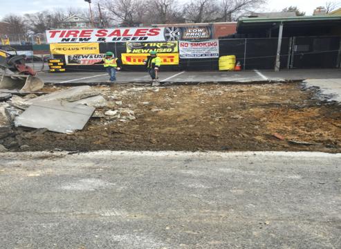 "Excavation 7"" driveway entrance at Sta.63+75LT"