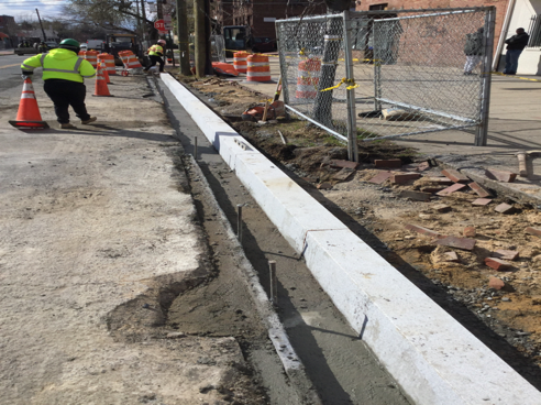 "8x12"" Granite straight curb installation from Sta.59+47LT to Sta.61+07LT."