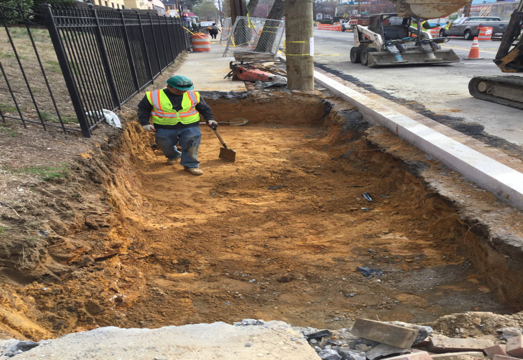 Structural soil excavation /placement at house #21 on Kennedy Street
