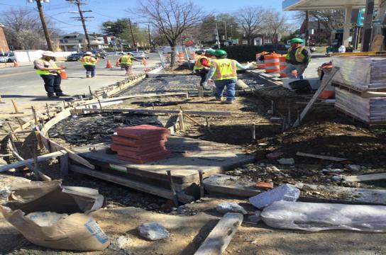 Brick sidewalk PCC base pouring Sta.63+15RT